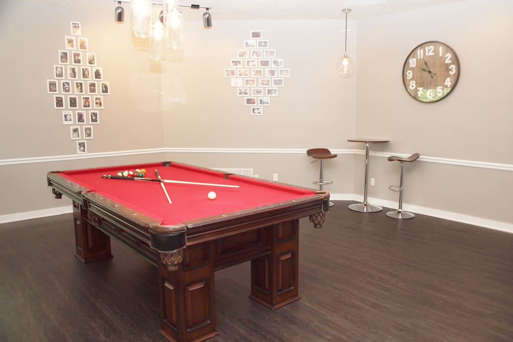 Clubhouse billiards table at Fox Chase Apartments in Cincinnati, Ohio