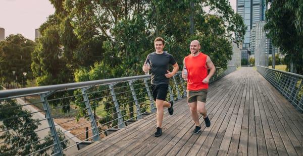Running on a trail near 300 Optimist Park in Charlotte, North Carolina