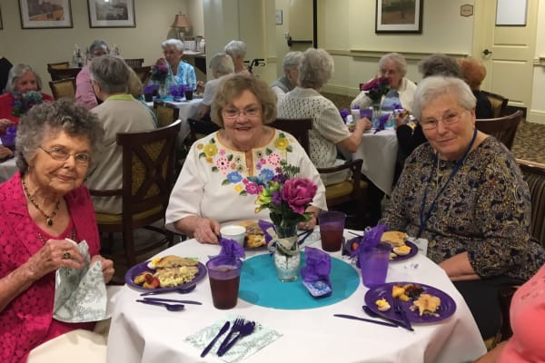Residents enjoy a Mother's Day brunch at Discovery Senior Living in Bonita Springs, Florida