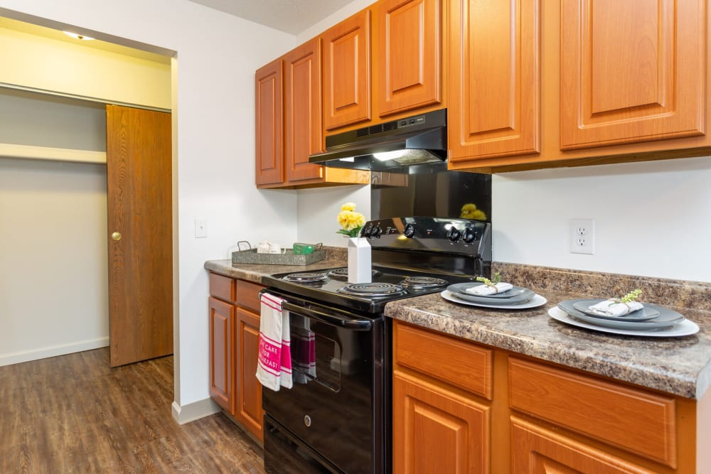 Kitchen at 1820 South Apartments in Mount Pleasant, Michigan.