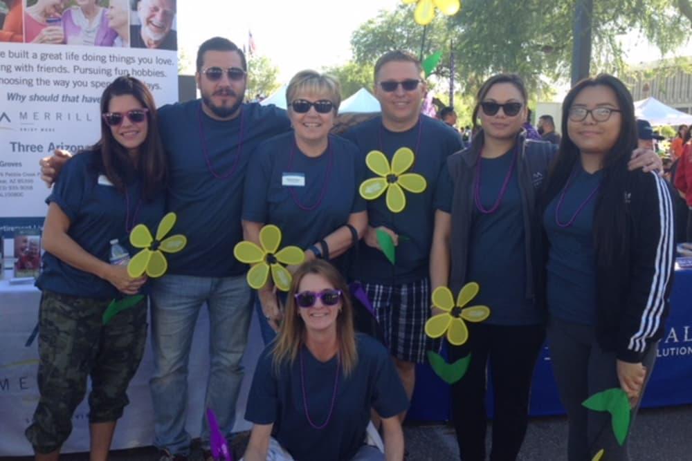 Alzheimer's walk group from The Oaks, A Merrill Gardens Community in Gilbert, Arizona.
