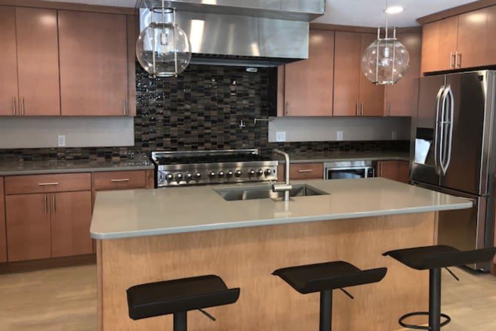 Community kitchen area at Maplewood Estates in Omaha, Nebraska