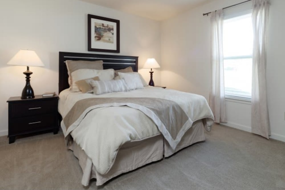 Cozy bed at The Meadows at Elk Creek in Elkton, Maryland