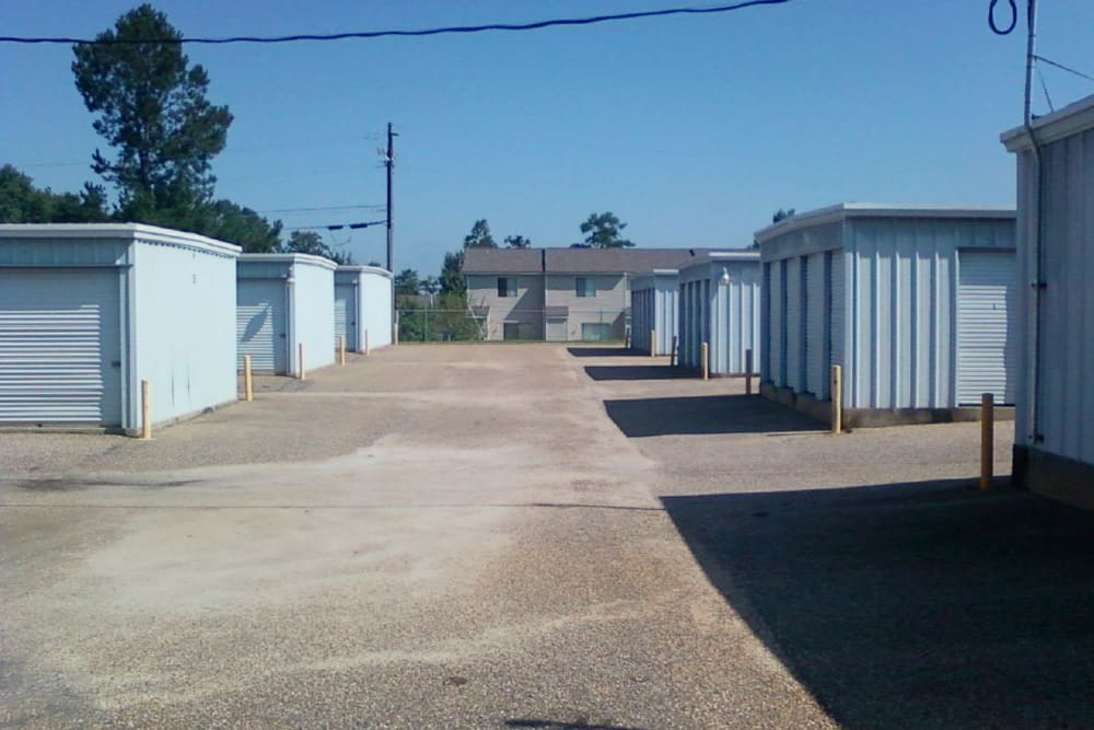 Exterior storage units at Denton Road Mini Storage in Dothan, Alabama