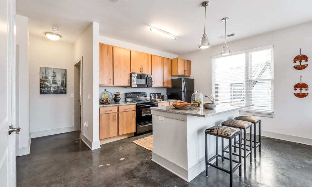 Spacious kitchen at Gantry Apartments in Cincinnati, Ohio