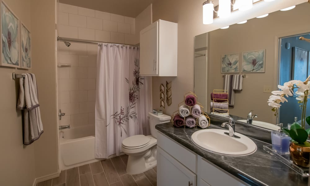 Spacious bathroom at Stonehorse Crossing Apartments in Oklahoma City, Oklahoma