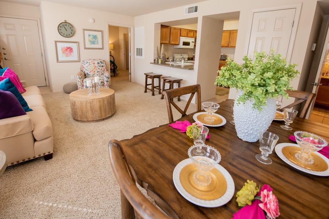An apartment living room at Remington Apartments in Amarillo, Texas