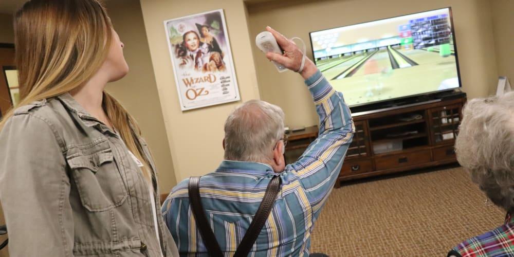 Residents playing virtual bowling at The Springs at Missoula in Missoula, Montana