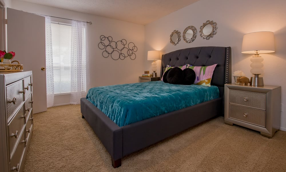 Large bedroom with windows at Windsail Apartments in Tulsa, Oklahoma