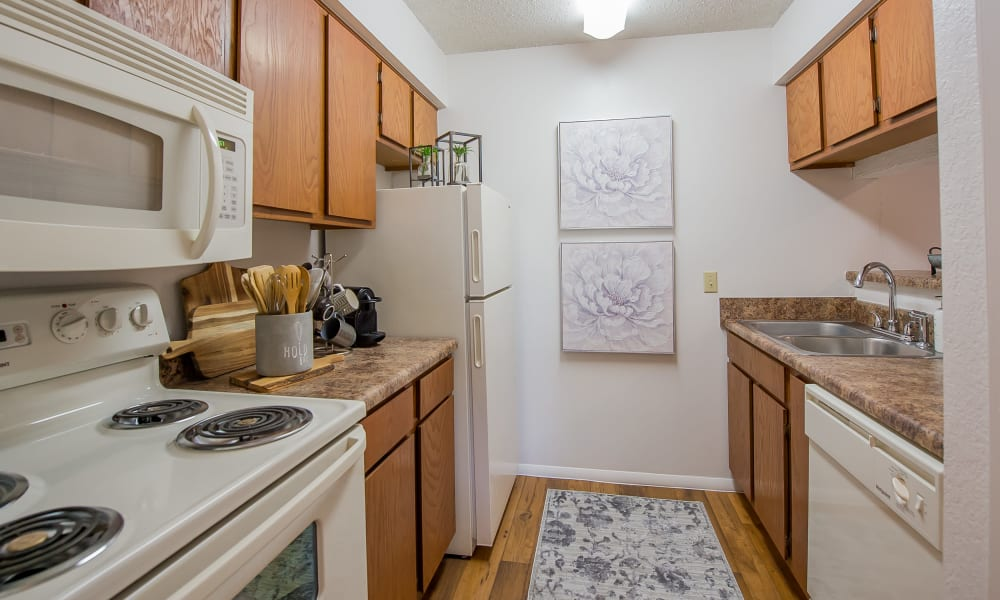 Bright kitchen at Windsail Apartments in Tulsa, Oklahoma