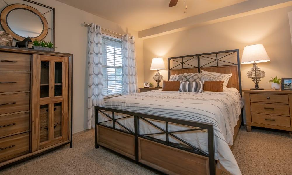 Bright bedroom at Cascata Apartments in Tulsa, Oklahoma