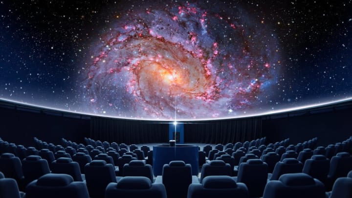 Colorful galaxy projection at the Dorrance Planetarium near Vive in Chandler, Arizona