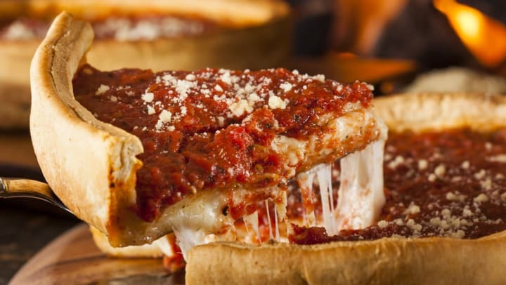 A Deep Dish Chicago style pizza served at a restaurant nearby Olympus Steelyard in Chandler, Arizona.