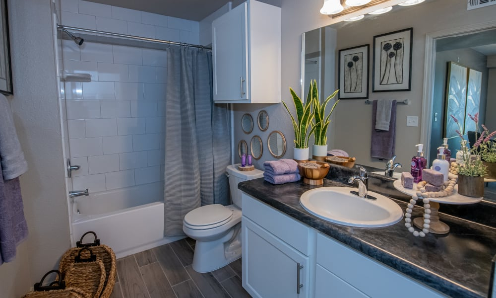Bathroom with shower/tub combination at Cottages at Crestview in Wichita, Kansas