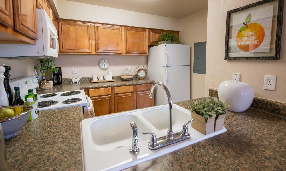 An apartment kitchen at Remington Apartments in Amarillo, TX