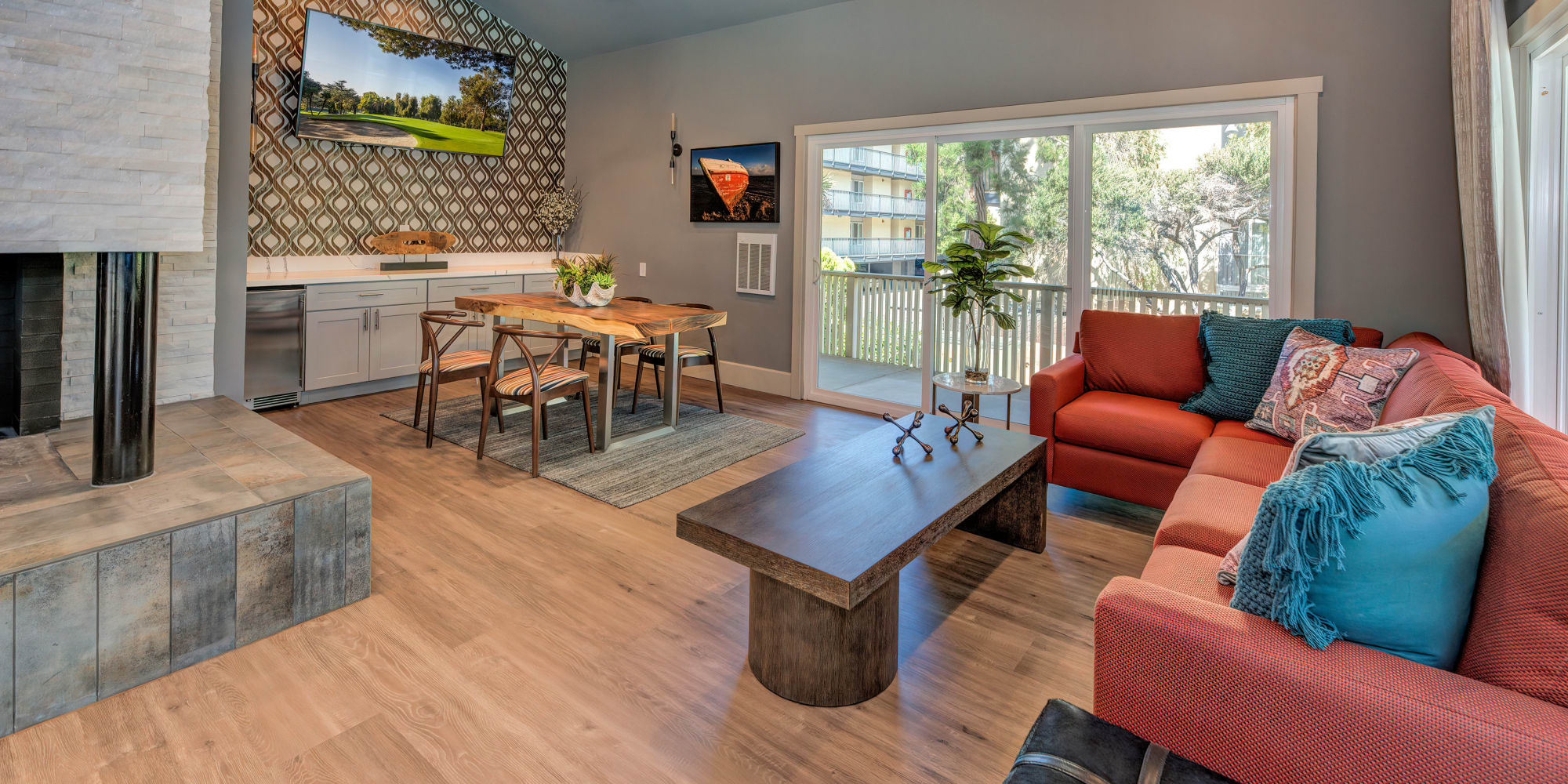 Clubhouse community space at Tower Apartment Homes in Alameda, California