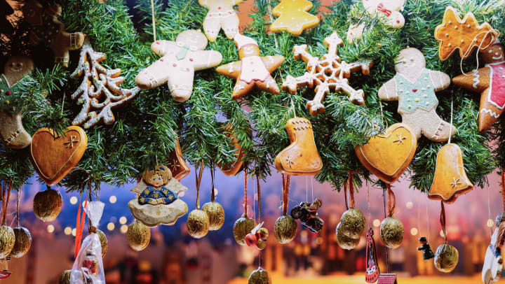 Festive hand crafted ornaments at a local shop near Olympus Willow Park