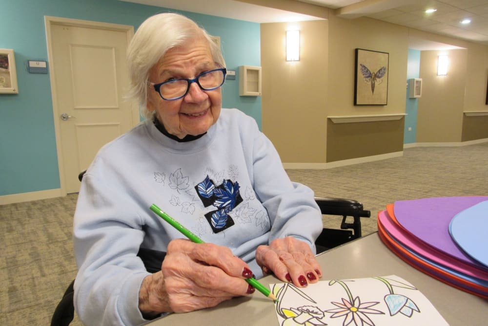 resident drawing a picture