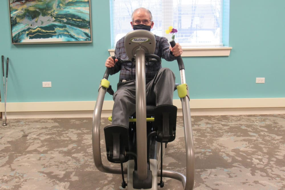 resident using the fitness room