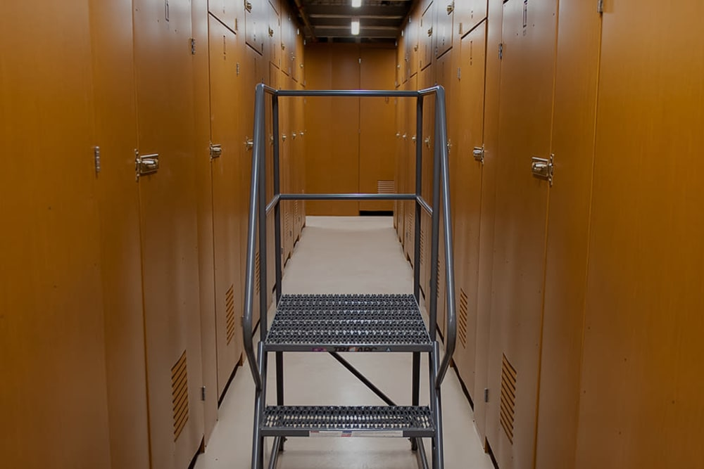 Wine storage units and a step ladder at Collection 55 Cellars in Redwood City, California