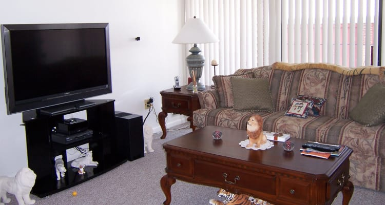 Comfy Living Room at Carriage Hill Apartments in Pittsford