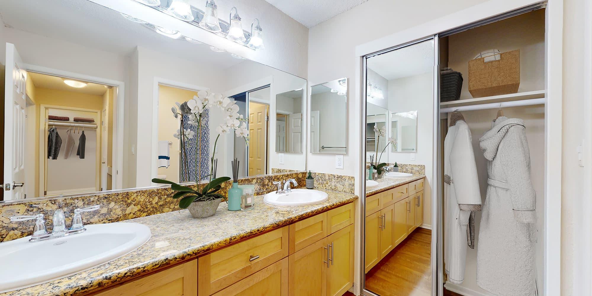Bathroom double vanity at The Tides at Marina Harbor in Marina del Rey, California