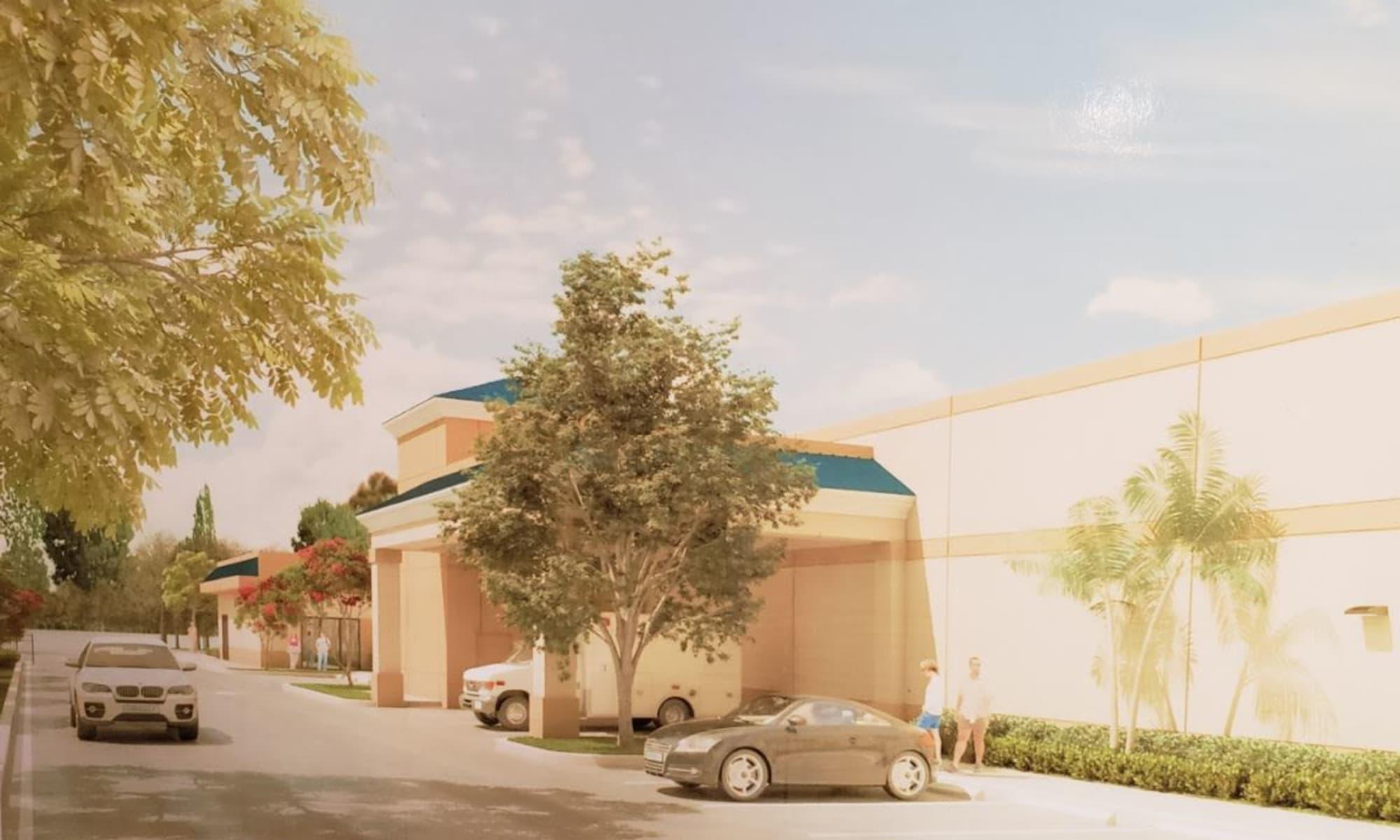 Parking lot at West Palm Beach, Florida near Top Self Storage