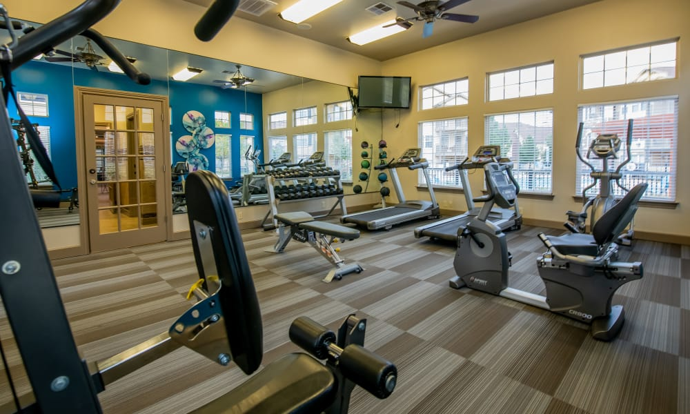 Fitness center at Tuscany Place in Lubbock, Texas.