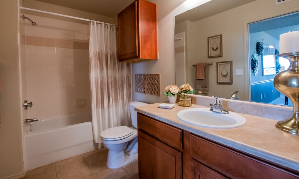 Cozy bathroom at Colonies at Hillside in Amarillo, Texas