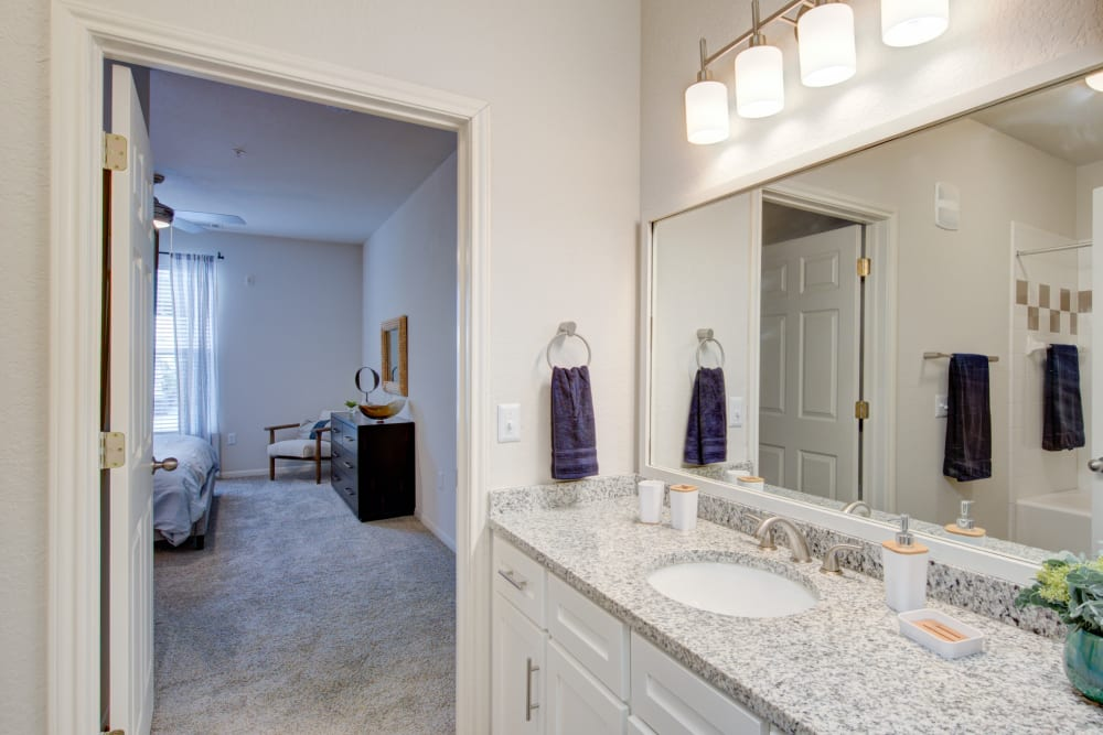 Bathroom with lots of light and large vanity mirror at Ingleside Apartments in North Charleston, South Carolina
