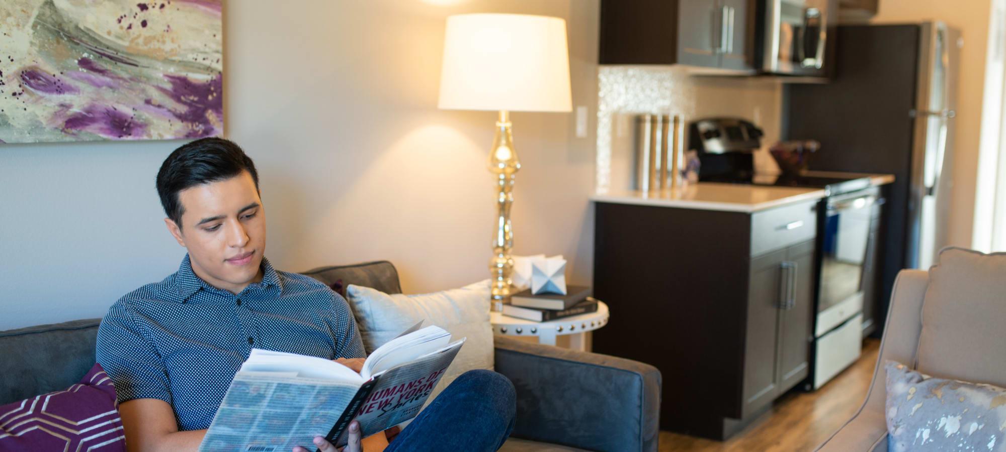 Spacious living area in model home at Villa Vita Apartments in Peoria, Arizona