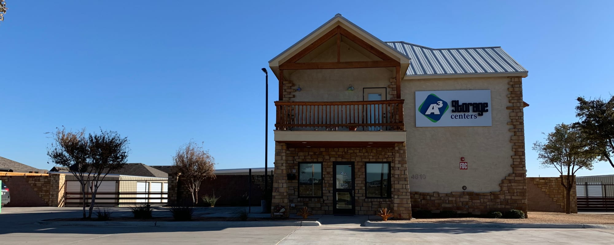 Front entrance to A3 Storage Centers in Midland, Texas