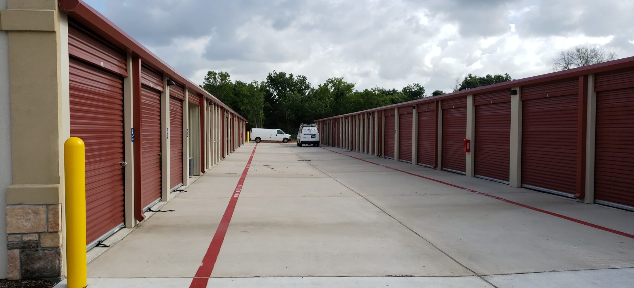 Wide driveway at Storage Authority Walters Rd in Houston, TX