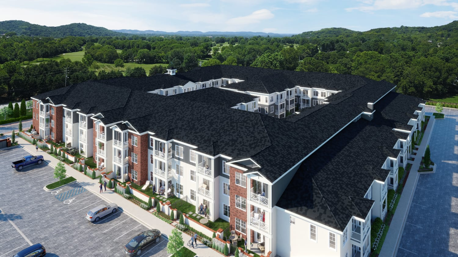 Aerial view of Avenida Cool Springs senior living apartments in Franklin, Tennessee