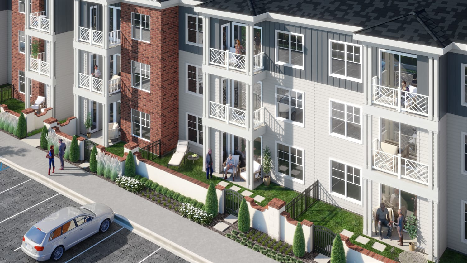 Rendering of apartment home patios and balconies at Avenida Cool Springs senior living apartments in Franklin, Tennessee