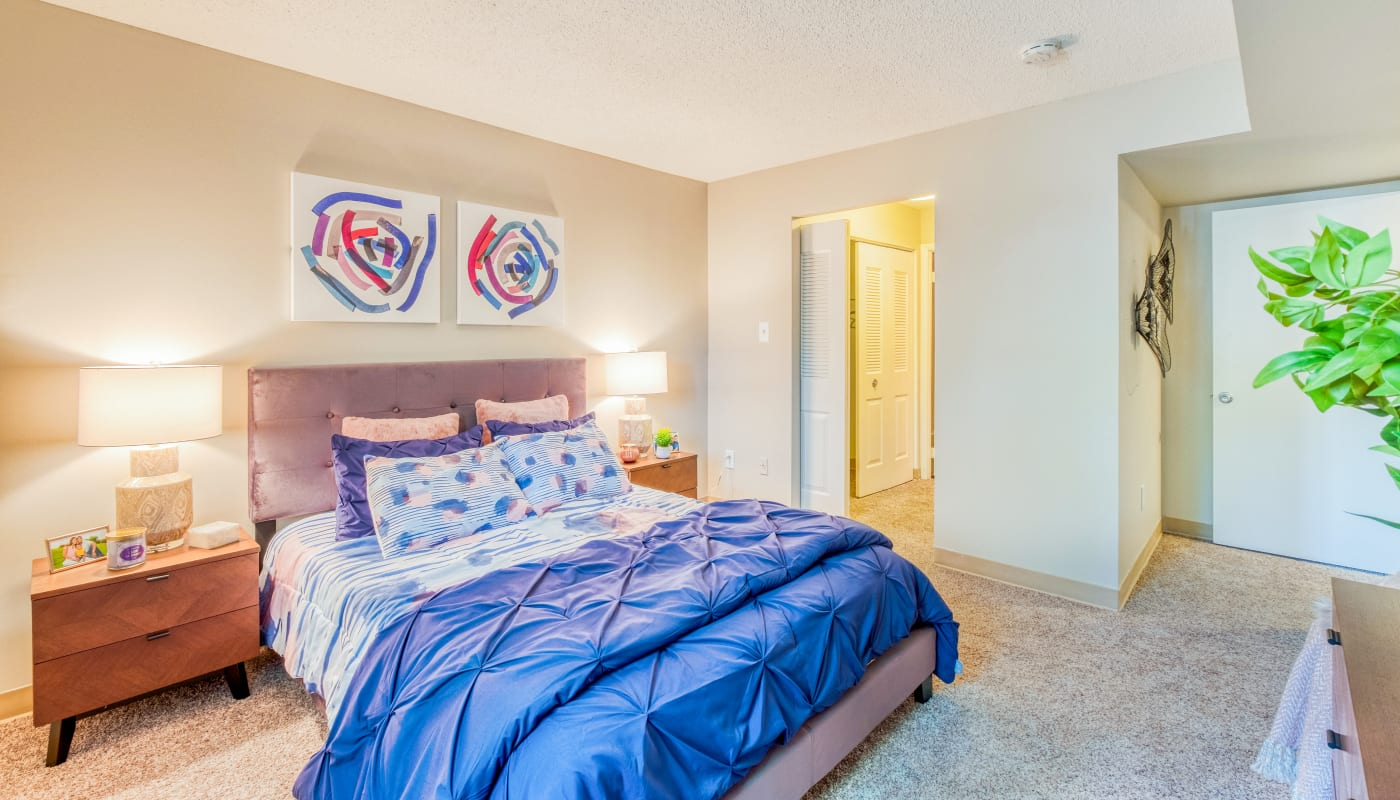Large bedroom in a model home at Preserve at Cradlerock Apartment Homes in Columbia, Maryland