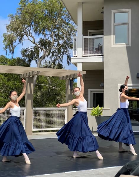 A local dance group puts on a performance for the residents of Monterey (CA).