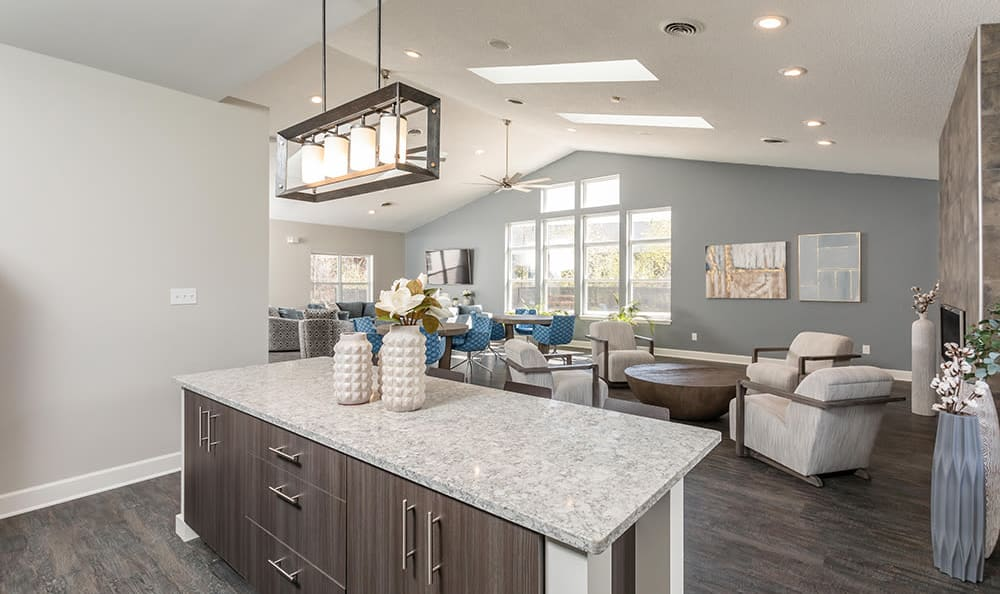Clubhouse kitchen at Green Lake Apartments & Townhomes in Orchard Park, New York