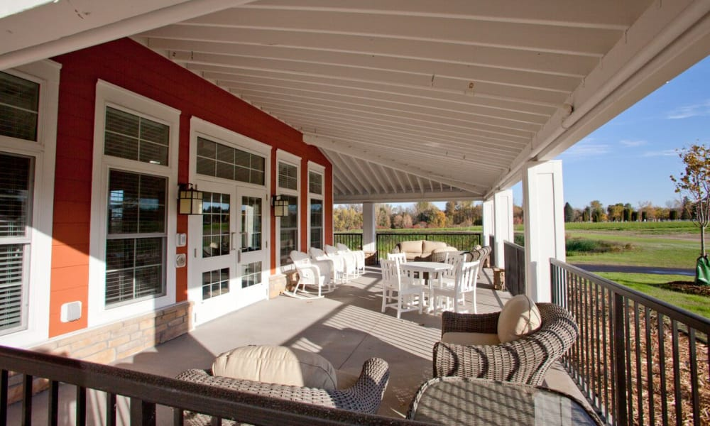 Patio with outside seating at Keystone Place at LaValle Fields in Hugo, Minnesota