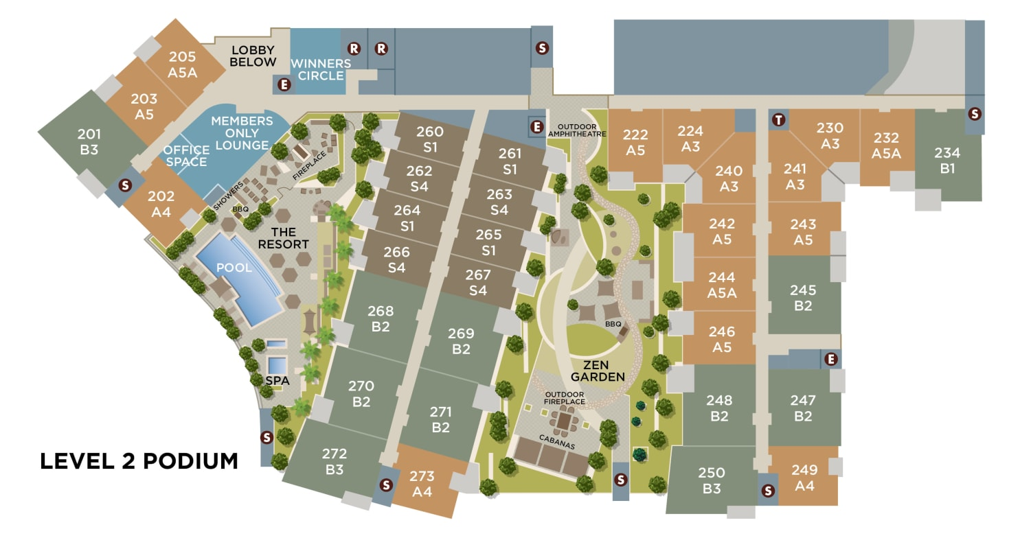 Community site map for floor level two for Brio Apartment Homes in Glendale, California