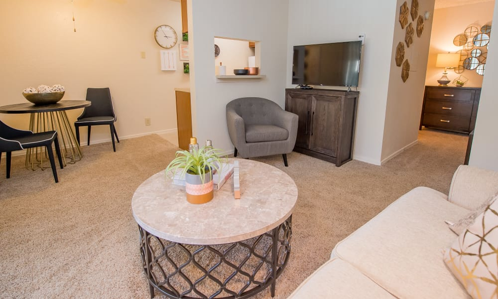 Spacious living room at Sunchase Apartments in Tulsa, Oklahoma