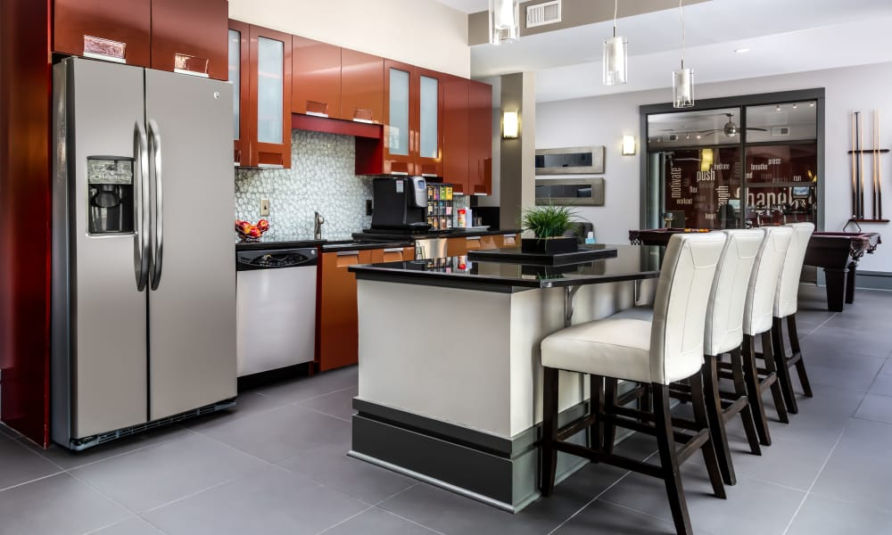 Luxury clubhouse kitchen area at Chapel Hill North