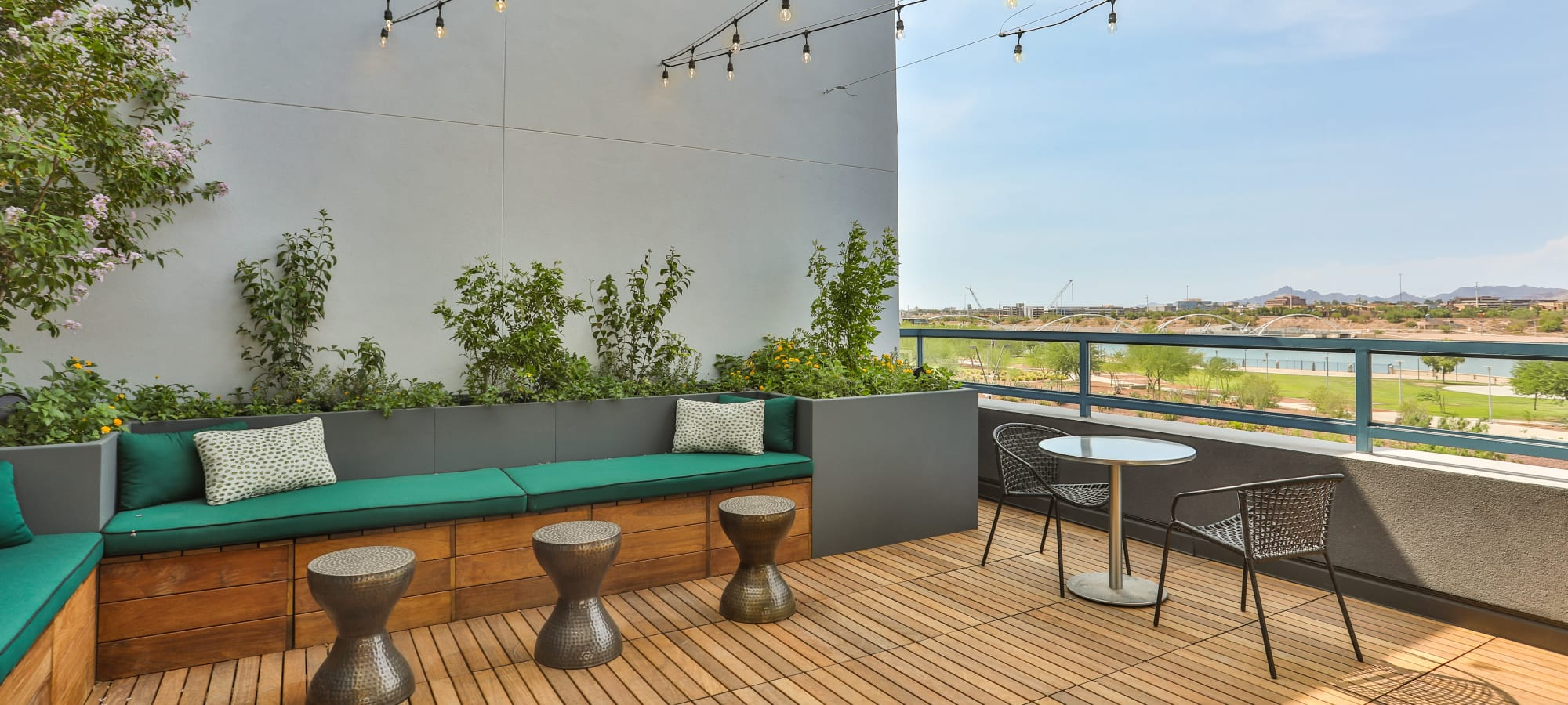 Rooftop porch with comfortable seating at Lakeside Drive Apartments in Tempe, Arizona