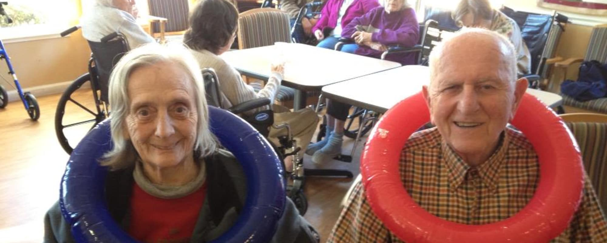 Seniors being silly at MuirWoods Memory Care in Petaluma, California