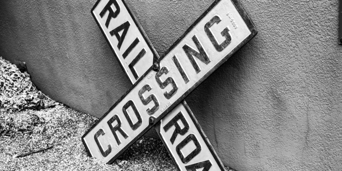 Rail road crossing sign near Yard 8 Midtown in Miami, Florida