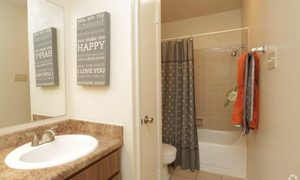 Bathroom with countertop at High Ridge Apartments in El Paso, Texas