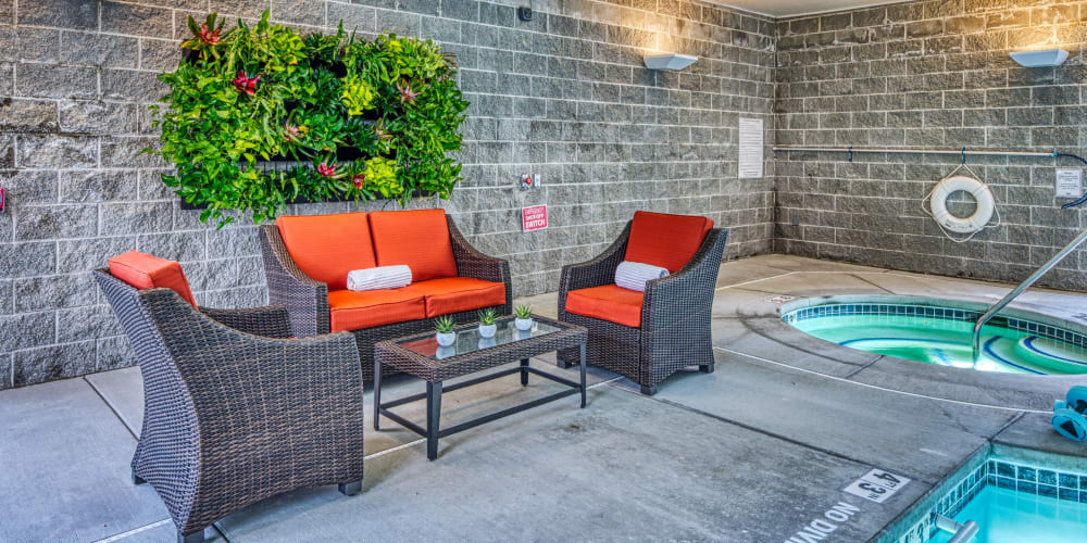 Lounge by the hot tub at Patriots Landing in DuPont, Washington.