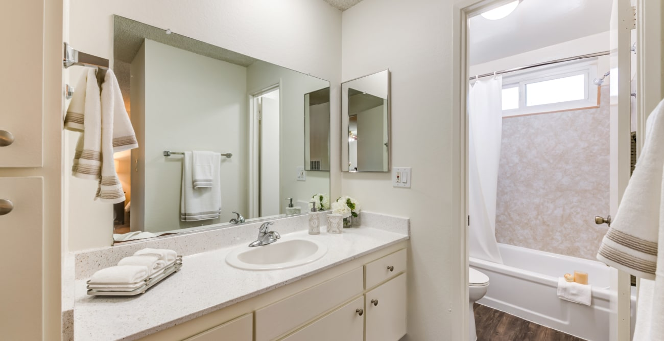 Bathroom with modern finishes at Vista Pointe I in Studio City, California