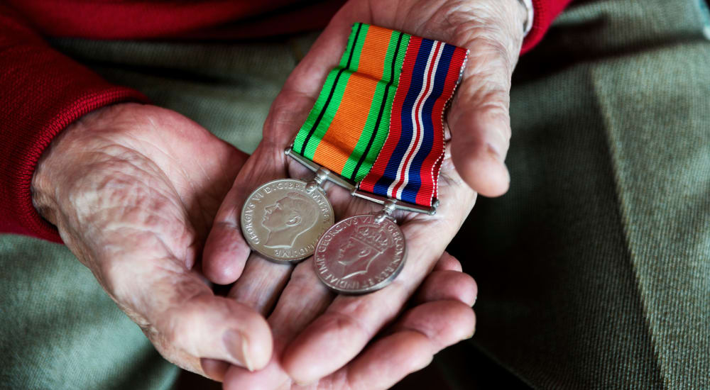 A veteran's medals at Patriots Glen in Bellevue, Washington.