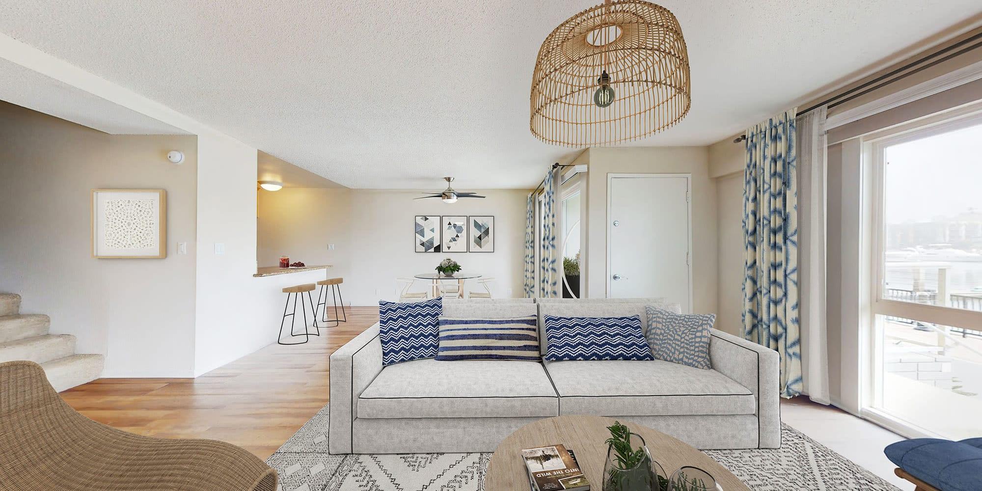 Living room with a view at The Tides at Marina Harbor in Marina del Rey, California